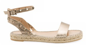 Valentino Studded Leather Open Toe Adjustable Strap Gold Sandals