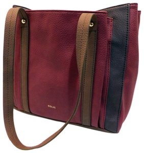Relic Tri-color Leather Multiple Pockets Flat Bottom Tote in Burgundy/Brown/Tan