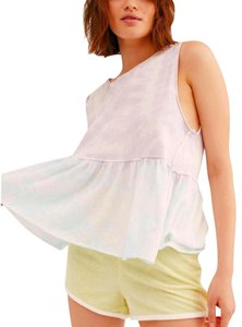 Free People Dropped Armhole Fp Peplum Fr Tie Dye Fp Raw Hem Fp Relaxed Top Multicolor
