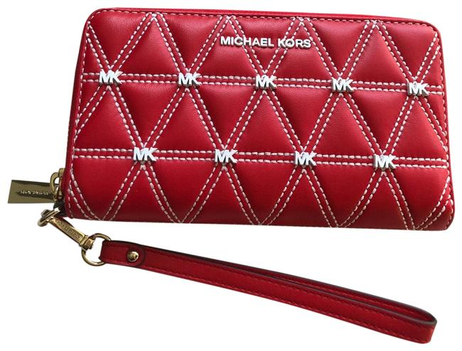 Michael Kors Red Quilted Mk Wallet Michael Kors Red Quilted Mk Wallet Image 1
