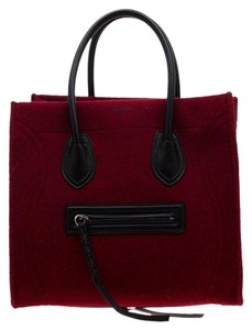 Céline Leather Satchel in Red