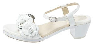 Chanel Patent Leather White Sandals
