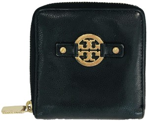 Tory Burch BLACK LEATHER AMANDA ZIPPY WALLET