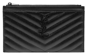 Saint Laurent Monogramme quilted textured-leather pouch