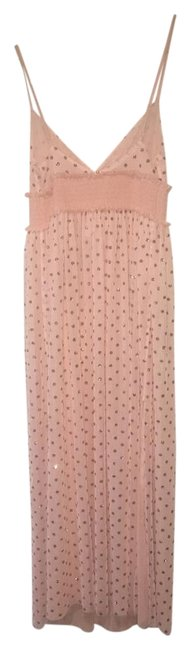 Item - Peach Intimately Tulle Gold Polkadot Long Casual Maxi Dress Size 12 (L)