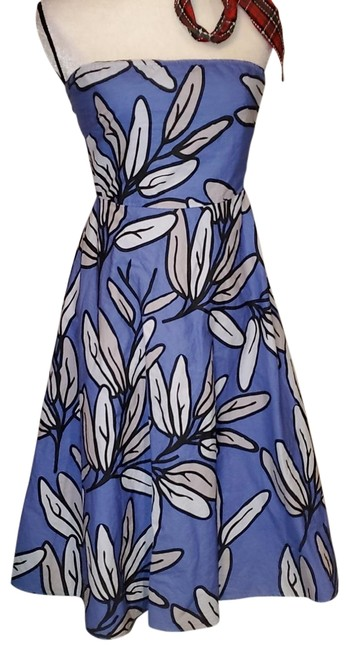 Item - Blue and White Strapless Mid-length Cocktail Dress Size 6 (S)