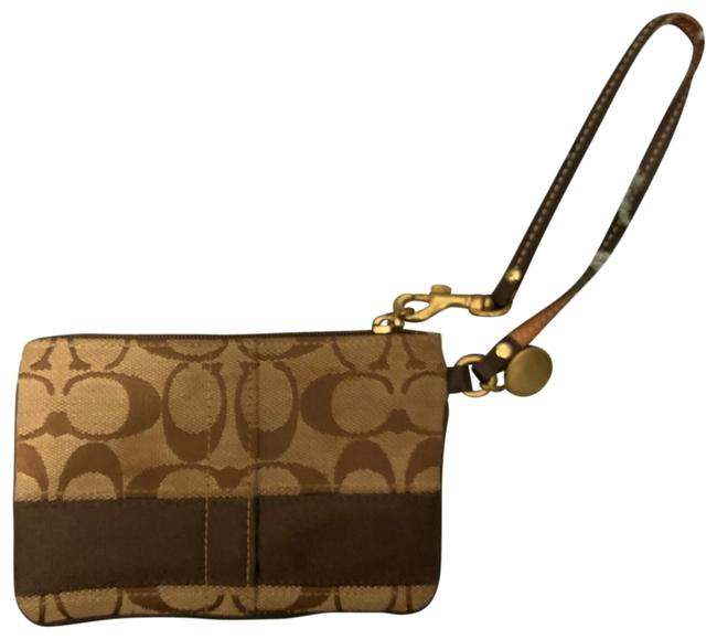 Coach Brown and Beige Leather Canvas Wristlet Coach Brown and Beige Leather Canvas Wristlet Image 1