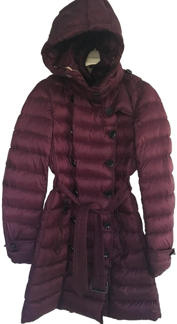 Item - Burgundy Red Brit Double Breast Down Puffer Parka Hood Trench Coat Size Petite 4 (S)