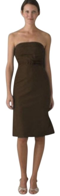Item - Brown Silk Strapless Mid-length Cocktail Dress Size 6 (S)