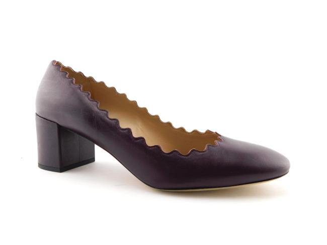 Item - Burgundy Bordeaux Wine Scalloped Leather Block-heel Pumps Size EU 39 (Approx. US 9) Regular (M, B)