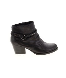Bare Traps Microsuede Ankle Vegan Leather Moto Studded Black Boots