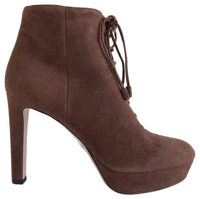 Prada Tabacco Brown 1tp256 Suede Short Platform Ankle Lace Boots/Booties Size EU 39 (Approx. US 9) Regular (M, B) Prada Tabacco Brown 1tp256 Suede Short Platform Ankle Lace Boots/Booties Size EU 39 (Approx. US 9) Regular (M, B) Image 1