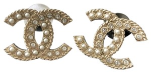 Chanel Chanel Gold Crystal Pearl CC Stud Piercing Brand New Earrings