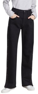 3X1 Denim Stretch Snap Track Pant Trouser/Wide Leg Jeans-Dark Rinse