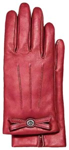 Coach Coach Turnlock Bow Leather Gloves True Red F55189 Women's Merino 7.5