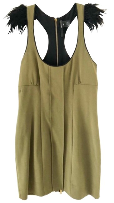 Preload https://img-static.tradesy.com/item/26970810/jay-godfrey-olive-green-feathered-sleeve-silk-with-gold-zipper-short-cocktail-dress-size-6-s-0-2-650-650.jpg