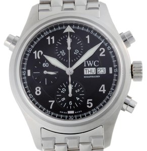 IWC IWC Spitfire Doppel Chronograph Mens IW371338 Stainless Steel Black Arabian Dial