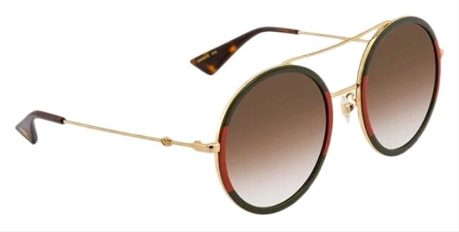 Item - Green & Red Light Brown Shaded Round Ladies Sunglasses