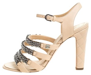 Chanel Leather Quilted Ankle Beige Sandals