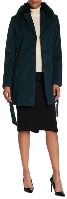 Item - Forest Green Genuine Dyed Fox Collar Wool Blend Coat Size Petite 6 (S)