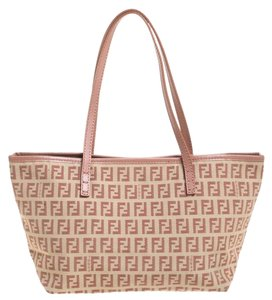 Fendi Leather Canvas Tote in Pink