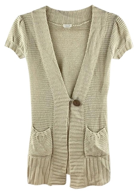 Item - Cap Sleeves One-button Cardigan Beige Sweater