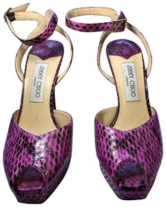 Jimmy Choo purple snake skin Platforms