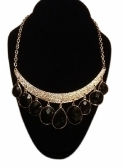 Preload https://img-static.tradesy.com/item/26973/new-york-and-company-blackgold-faceted-stones-bar-bib-fashion-statement-necklace-0-0-540-540.jpg