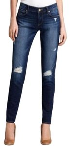 Paige Ultra Distressed Dark Wash Stretchy Skinny Jeans-Distressed