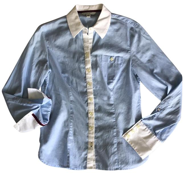 Item - Blue and White Pinstriped Red Velvet Trim Button-down Top Size 6 (S)