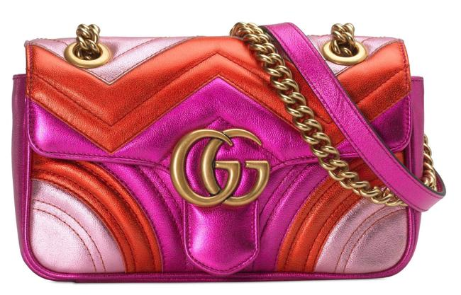Item - Shoulder Marmont New Chain Metallic Pink Red Leather Cross Body Bag