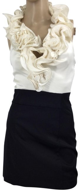 Item - Ivory/Black Ruffle Halter Short Night Out Dress Size 2 (XS)