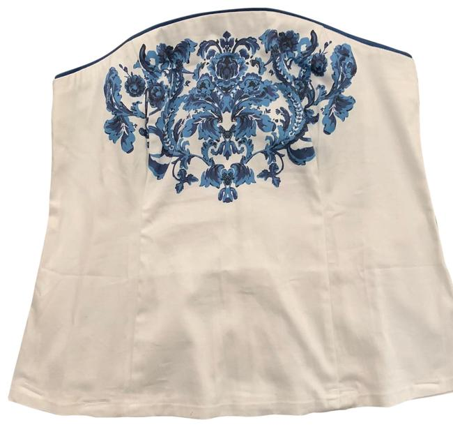 Item - White and Blue Floral Rn 88966 Halter Top Size 14 (L)