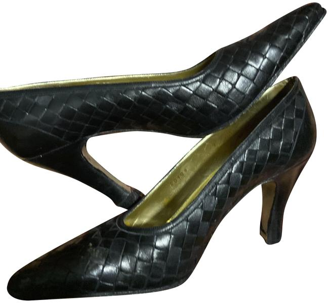 Item - Black Woven Leather Pumps Size US 7 Narrow (Aa, N)