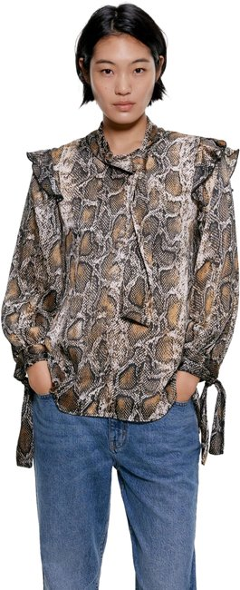 Item - Brown XS W Snake Print Flowy High Collar Long Sleeves W/ Tie Cuffs Blouse Size 2 (XS)