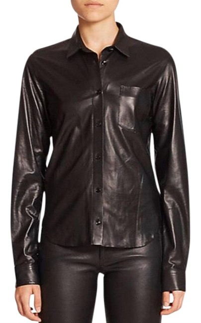 Item - Black Leather Shirt Button-down Top Size 6 (S)