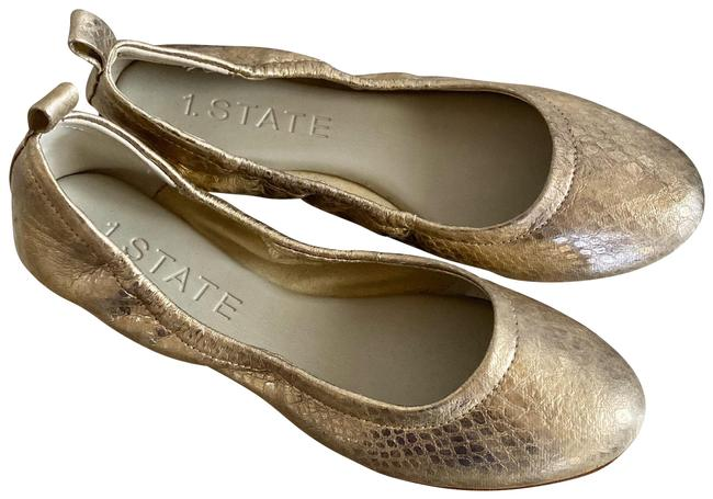 1.STATE Gold Shsy Round Toe Ballet Leather Flats Size US 5.5 Regular (M, B) 1.STATE Gold Shsy Round Toe Ballet Leather Flats Size US 5.5 Regular (M, B) Image 1