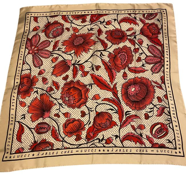 Item - Red Floral Silk Scarf/Wrap