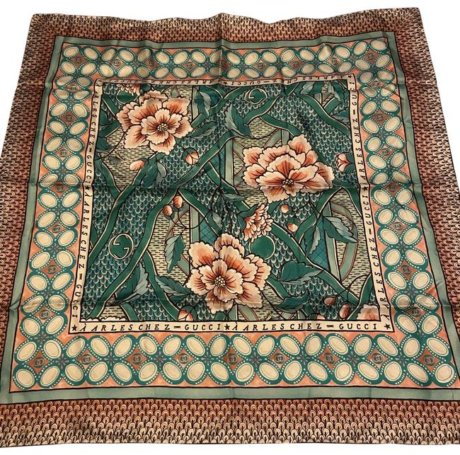 Item - Peach and Turquoise Multi Floral Silk Scarf/Wrap