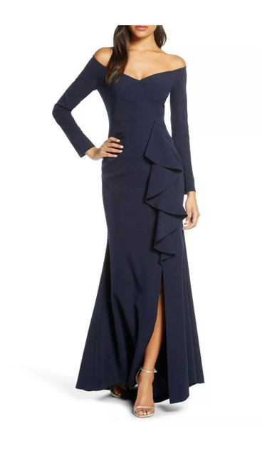 Item - Navy Off Shoulder Sleeve Ruched Gown Long Formal Dress Size 8 (M)