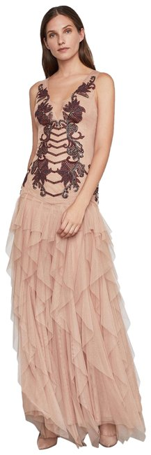 Item - Nude W Embroidered Tulle Gown Maxi W/ Sequin Detail Long Formal Dress Size 0 (XS)