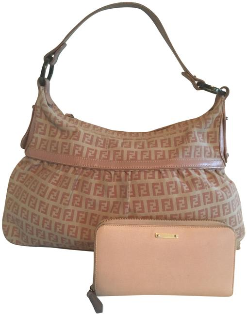 Item - Xlg Chef with Match Wallet Pink Nude Leather and Canvas Baguette