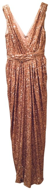 Item - Rose Gold Rolling In The Glitz Long Formal Dress Size 6 (S)