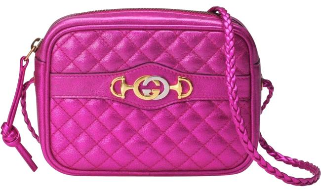 Item - Crossbody Laminated Quilted Fuchsia Leather Shoulder Bag