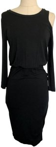 LNA short dress Black Cold Shoulder Fitted Stretchy Bodycon Knee Length on Tradesy