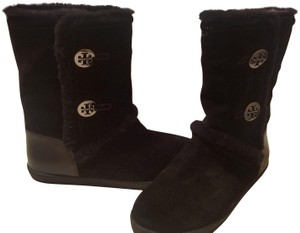 Tory Burch Ginger Suede Leather Shearling Black Boots