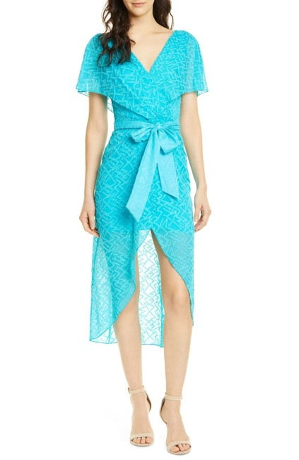 Item - Blue Darva Faux Wrap Party Mid-length Short Casual Dress Size 2 (XS)