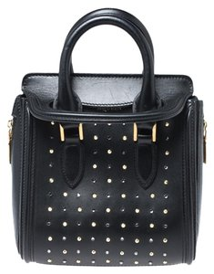 Alexander McQueen Leather Studded Mini Crystal Black Clutch