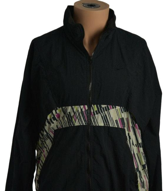 Item - Black Vintage Womens Large Long Sleeve Zip Up Windbreaker Runn Activewear Outerwear Size 12 (L)