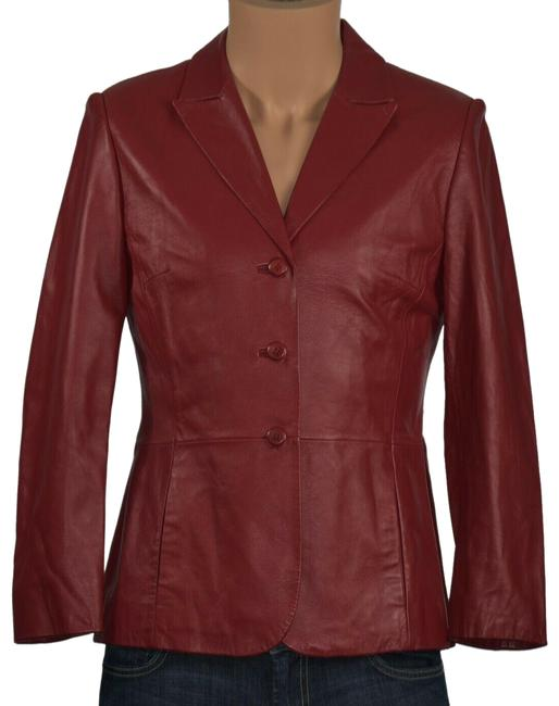 Item - Red Women's S Small Leather Long Sleeve Button Fro Activewear Outerwear Size Petite 4 (S)